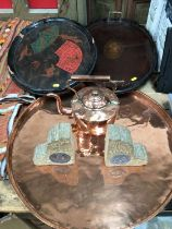 Sundry items, including a Victorian copper kettle and tray, a Japanese lacquered tray, an Edwardian