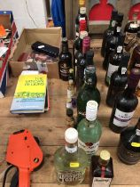 Twelve bottles of alcohol and six alcohol miniatures, mostly spirits, including Akvavit, Martini, Ba