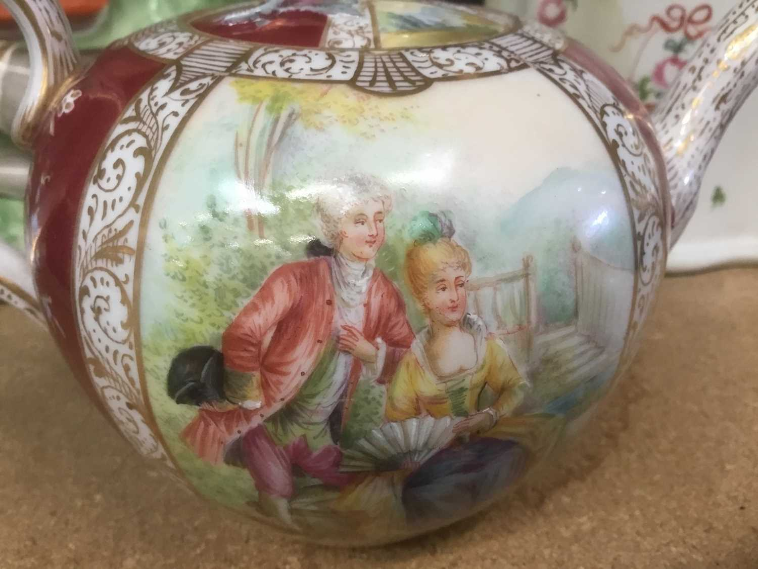 Meissen porcelain teapot (cancelled mark so a 'second'), Newhall teapot, Staffordshire greyhound - Image 3 of 6