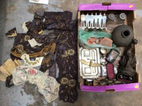 Box of sundry items, including a 19th century spelter figure of Hebe, ancient pottery vessel and fra