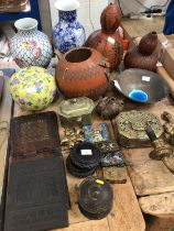Quantity of Eastern items, including Chinese porcelain, three carved gourds, Persian tile and snuff