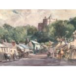 B. M. Steel, watercolour - Townscape, signed and dated 1924, 24cm x 29cm, in glazed frame