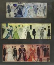 Costume designs for The Importance of Being Earnest, framed watercolour, indistinctly signed