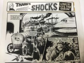 Comic Book Interest: series of 6 pages of original illustrations to 2000AD