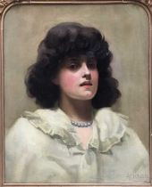 A Crump (19th century), oil on canvas portrait of a lady, signed and dated 91