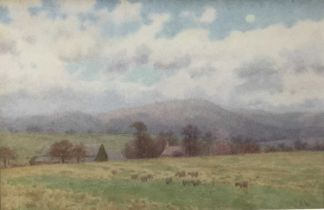 John Barlow Wood (1862-1949) watercolour - Summer landscape, and another by the same hand and a prin