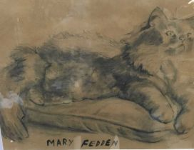 Manner of Mary Fedden (1915-2012) charcoal - cat