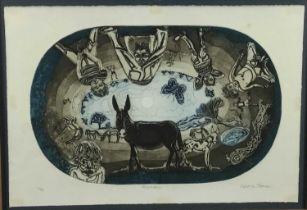 Glyn Thomas (b. 1946) etching - 'Meadow'