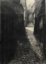 Arthur Oldham (Contemporary) charcoal, Bruges Alleyway, signed and dated 2000, 69 x 48cm, glazed fra