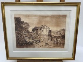 After J. M. Turner, etching and mezzotint - Water Mill, from Liber Studiorum, 22cm x 31cm, in glazed