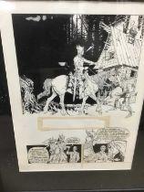 Comic Book interest: Attributed to Estaban Moroto (b. 1942) series of eight original illustrations f