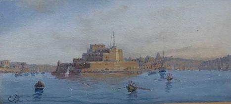 Gaetano Esposito (1852-1911) two gouache depictions of Valletta