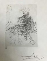 Salvador Dali, drypoint etching, Richard III, signed and numbered 216/250, 17.3 x 12.5 cm