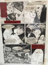 Horror Comic Book interest: Attributed to Estaban Moroto (b. 1942) two illustrations for a comic boo