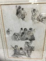 Attributed to David Cox (1785-1859) charcoal sketch, Figures
