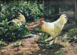 Margaret Glass (b. 1950) oil on board - The White Cockerel