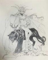 Comic Book interest: Estaban Moroto (b. 1942), pencil, series of three fantastical sketchEd