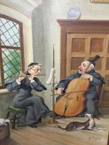 A. Schneider, pair of oils on board - Monks in interiors playing musical instruments and reading, si