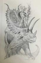 Comic Book interest: Esteban Moroto (b. 1942), pencil, fantastical sketch