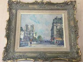 Julien Brosius (1917-2004) - oil on canvas in gilt frame - Notre Dame, Paris. Image size 18cm x 23.5