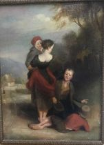 19th century English School, figures in a landscape, together with a watercolour portrait