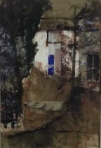 Edward Gentry (b. 1943) mixed media and collage 'Houses at Moniaive'n