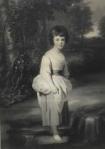 After Joshua Reynolds, 19th century mezzotint by Samuel Cousins, Lady Anne Fitzpatrick together with