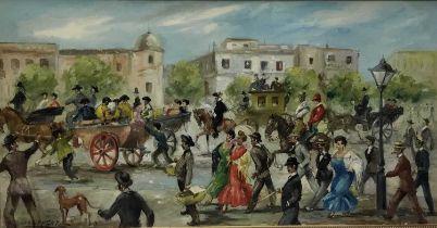 José Puente (1928-2002) - oil on canvas - Street procession