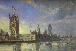 Charles Brooker (20th century) oil on board - Houses of Parliament from the Thames