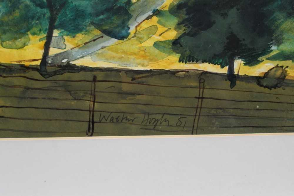 *Walter Hoyle (1922-2000) watercolour - A Valley, signed and dated '51, 46cm x 59cm, in glazed frame - Image 3 of 9