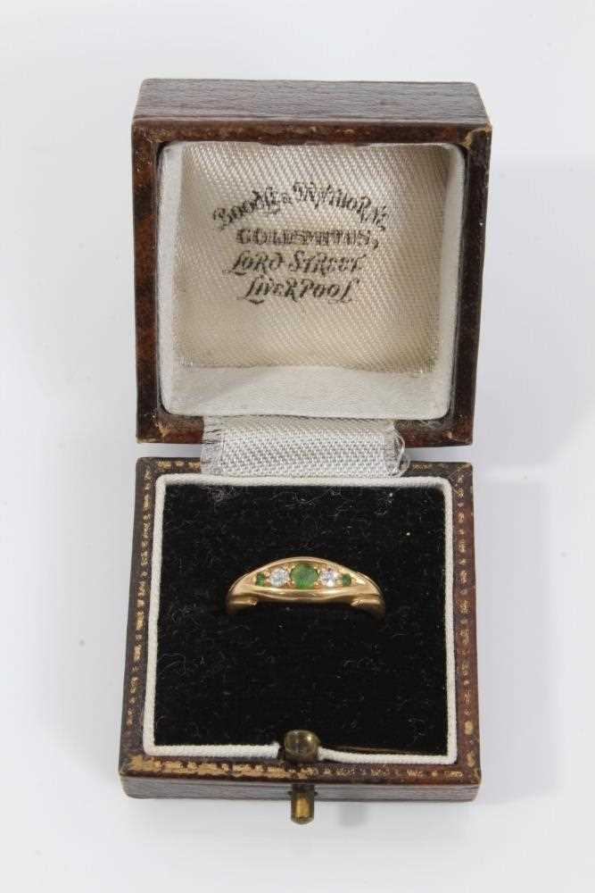18ct gold green garnet and diamond ring - Image 3 of 3