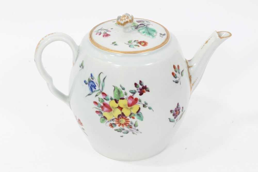 Worcester barrel shaped teapot and cover, circa 1775-80 - Image 3 of 8