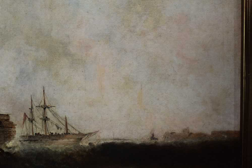 Manner of William Henry Williamson oil on canvas - shipping off the coast, in gilt frame - Image 14 of 27