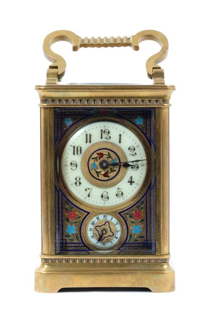 19th century French enamelled carriage clock with subsidiary alarm dial, striking on a bell, in case