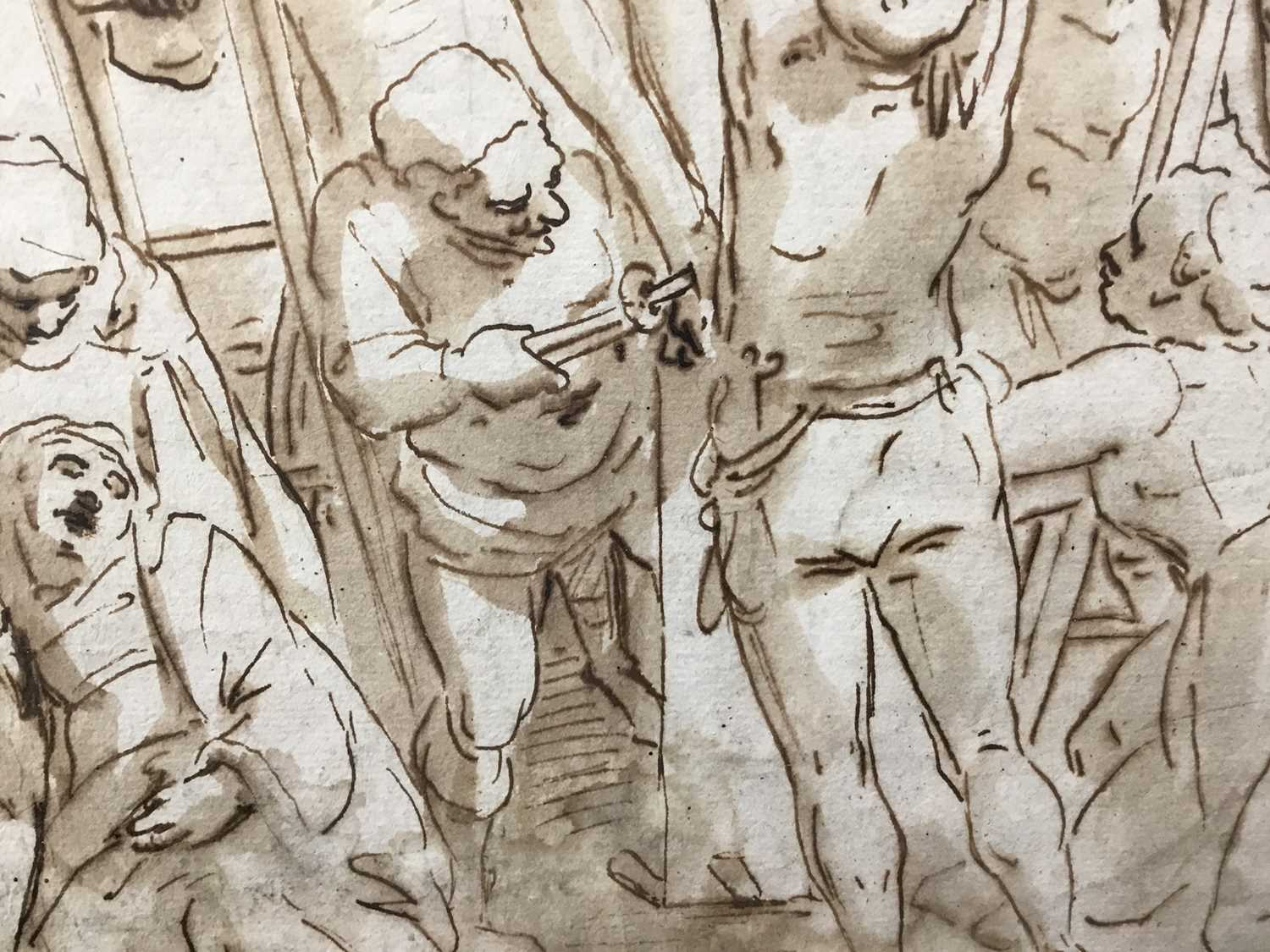 After Luca Cambiaso (1527-1585) 16th century drawing, pen and ink with wash, watermark, 'The Descent - Image 11 of 13