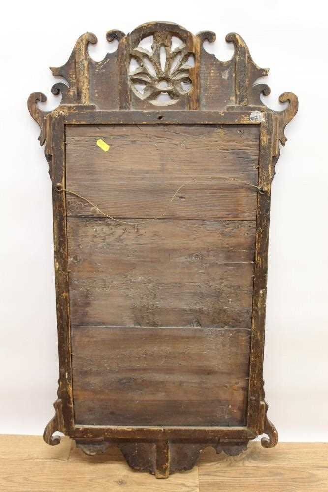 George II style mahogany fret carved wall mirror, the pierced carved top centred with a gilt floral - Image 4 of 4