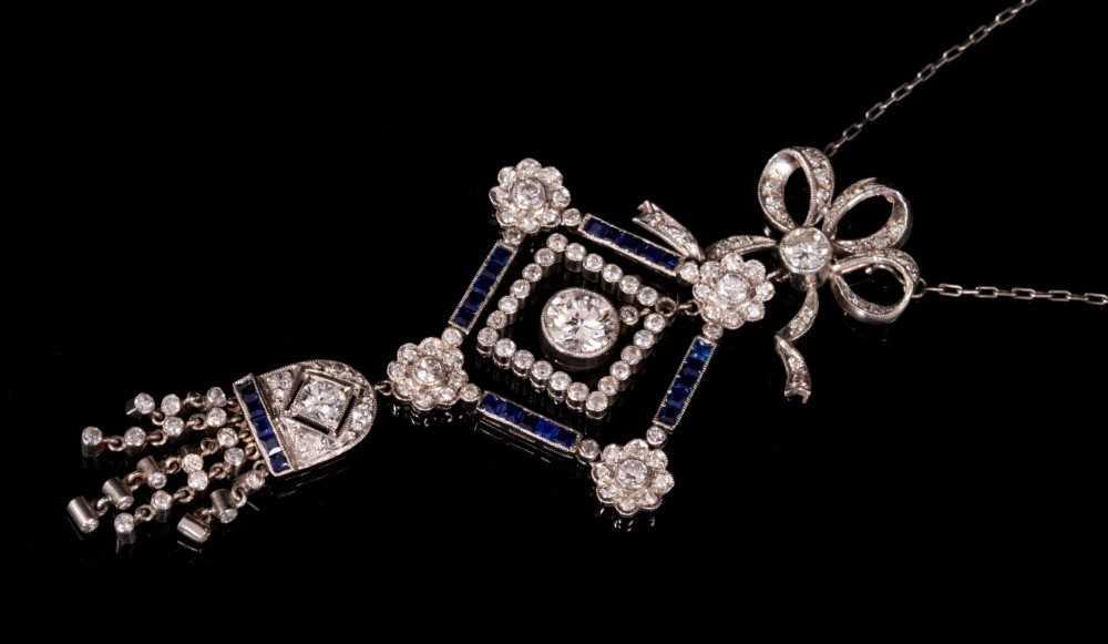 Edwardian style Belle Époque diamond and sapphire pendant necklace