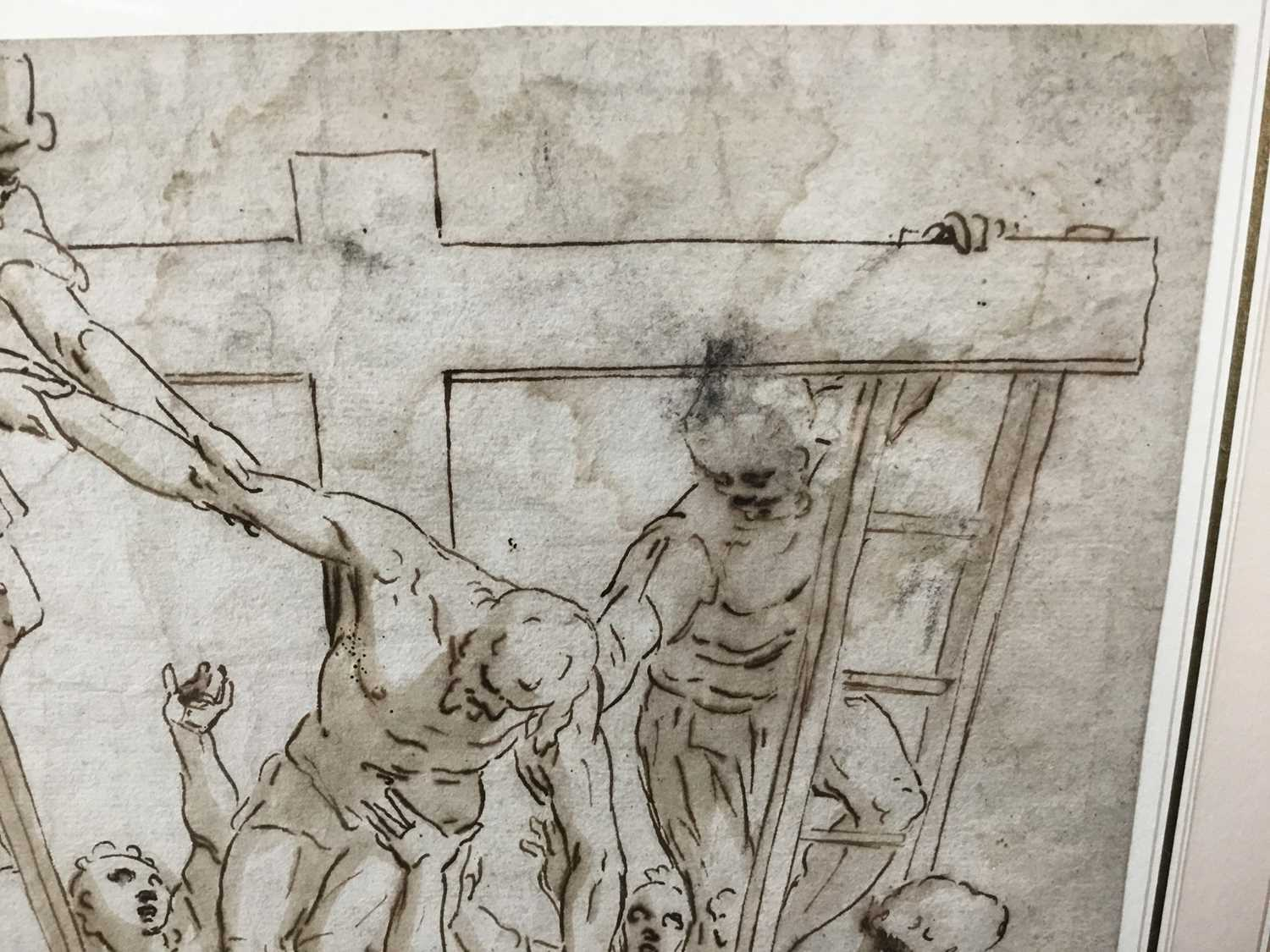 After Luca Cambiaso (1527-1585) 16th century drawing, pen and ink with wash, watermark, 'The Descent - Image 4 of 13