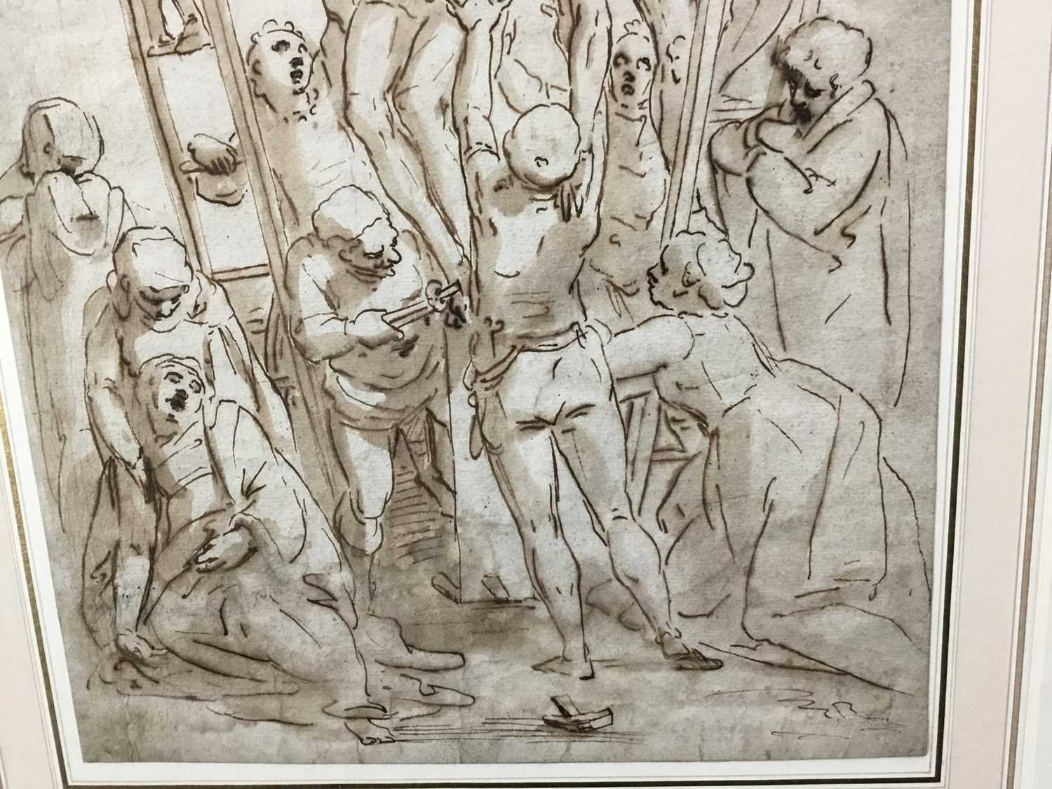 After Luca Cambiaso (1527-1585) 16th century drawing, pen and ink with wash, watermark, 'The Descent - Image 7 of 13