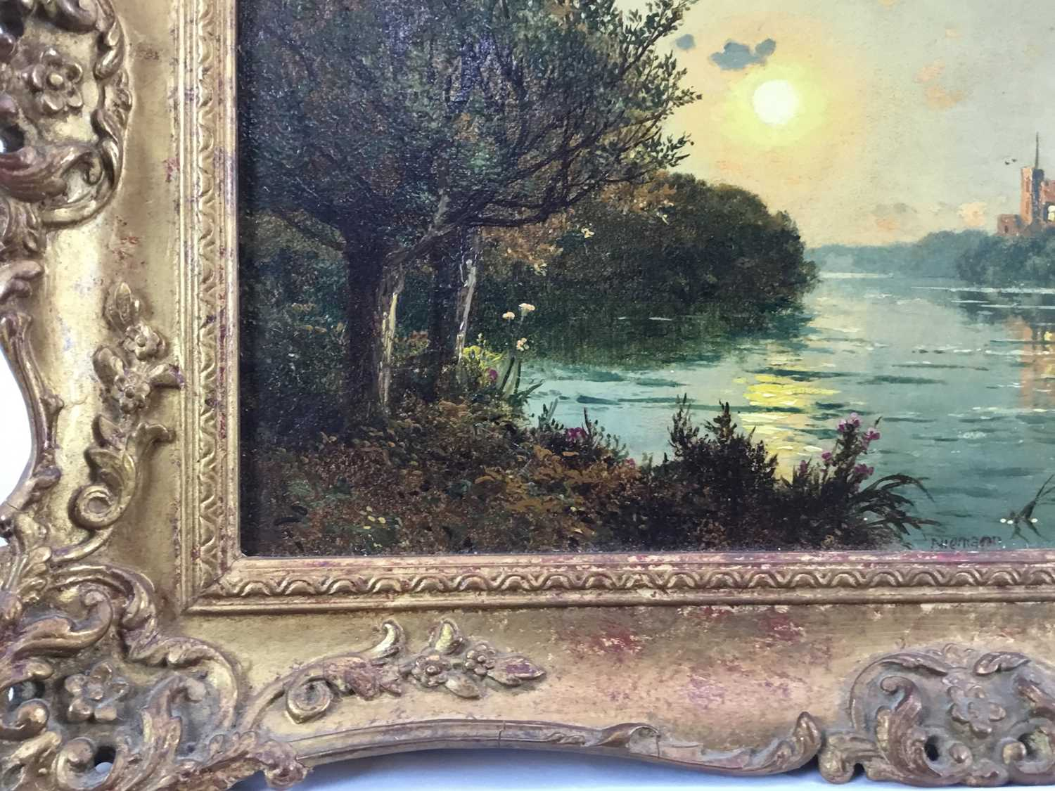 """Edmund John Niemann 1813 - 1876 """"On The River Wye"""", oil on canvas, signed, in gilt frame, gallery - Image 4 of 7"""