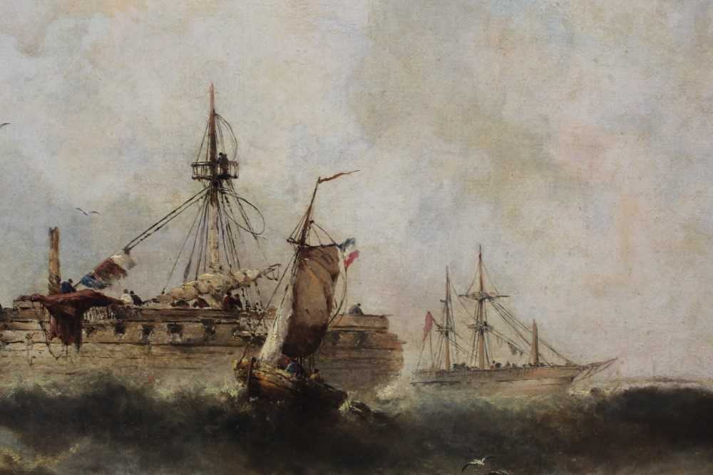 Manner of William Henry Williamson oil on canvas - shipping off the coast, in gilt frame - Image 22 of 27