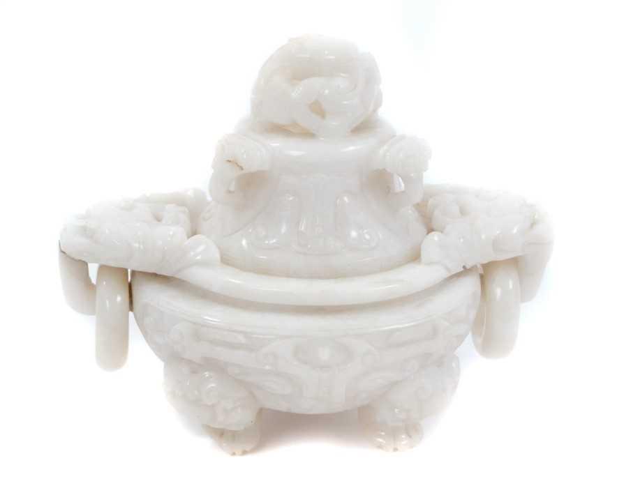 Chinese white jade censer