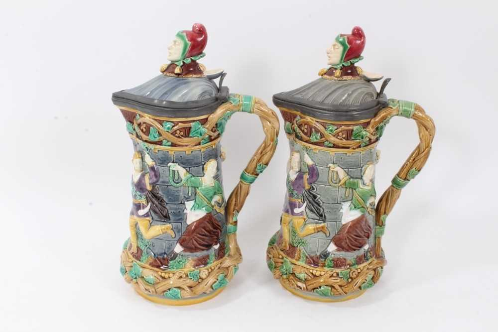 A matched pair of Minton Majolica 'Tower' jugs, 1881 and 1883, 33cm height - Image 5 of 8