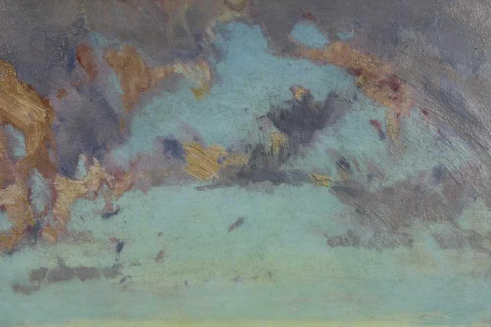 Lewis Taylor Gibb (1873-1945) oil on canvas - Extensive Landscape, 29cm x 33cm, in glazed gilt frame - Image 6 of 8