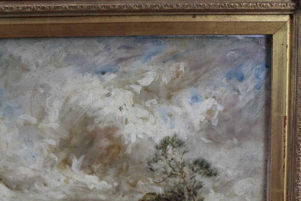 Manner of John Constable, oil on canvas laid on board - Extensive Landscape, in glazed gilt frame - Image 5 of 7