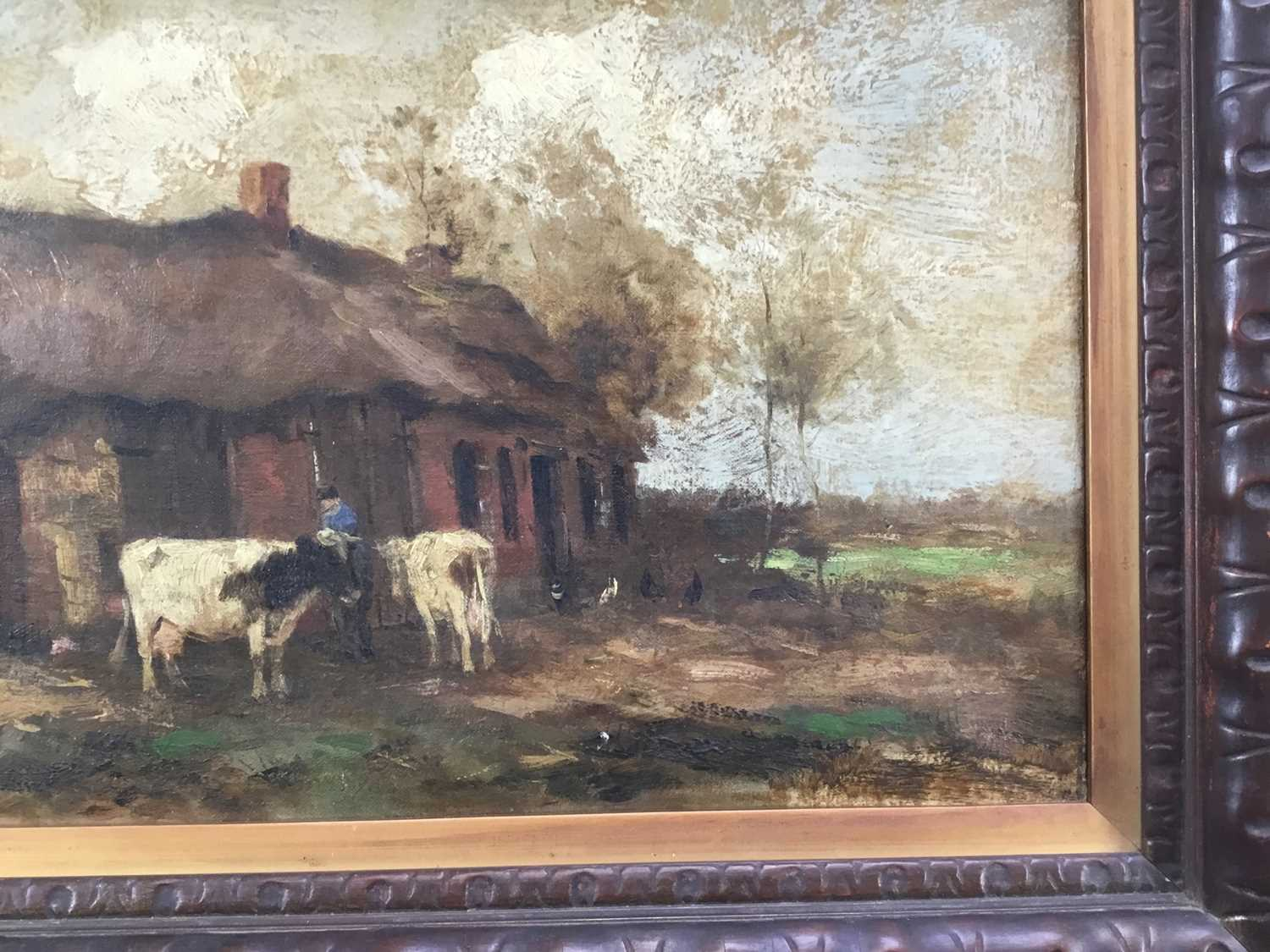 Willem G. F. Jansen (1871-1949) oil on canvas Figure and cattle in landscape - Image 7 of 10