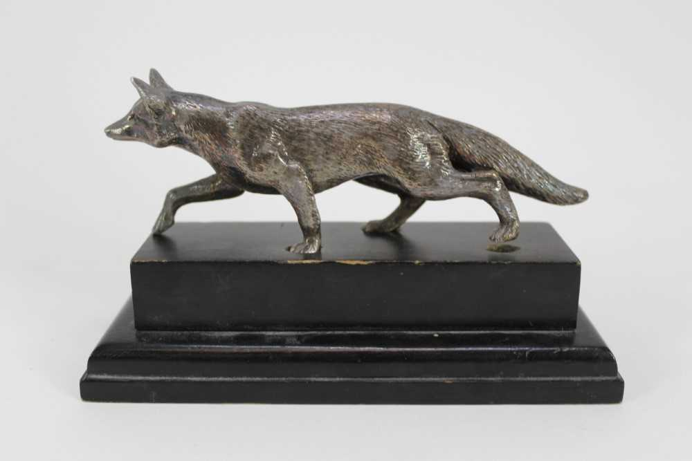 Hunting trophy in the form of a silver plated fox, mounted fox pad and Fox Hunt framed map - Image 25 of 31