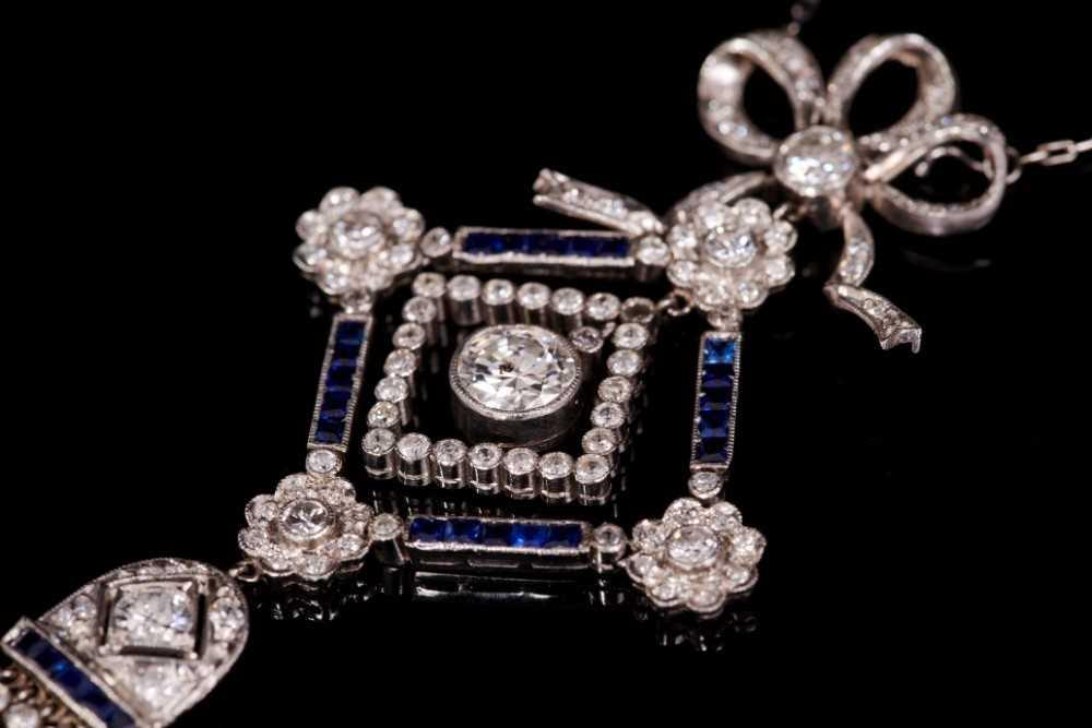 Edwardian style Belle Époque diamond and sapphire pendant necklace - Image 2 of 2