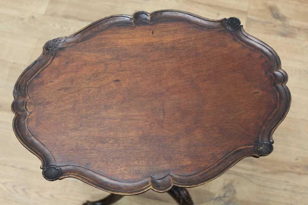 Edwardian carved mahogany tripod wine table - Image 2 of 5