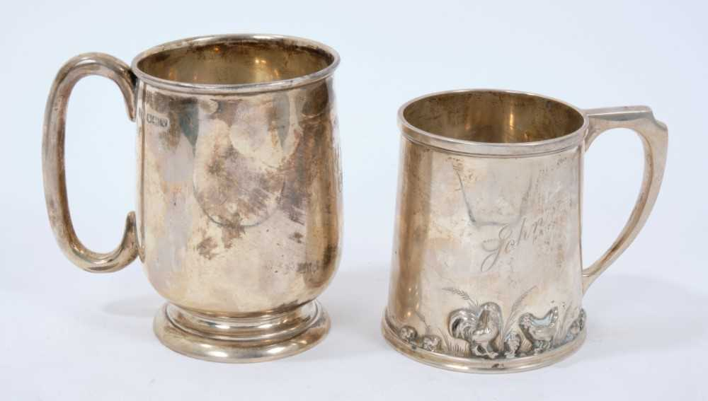 1930s silver christening mug of baluster form, with engraved initials and one other